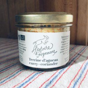 Vente terrine d'agneau bio curry coriandre